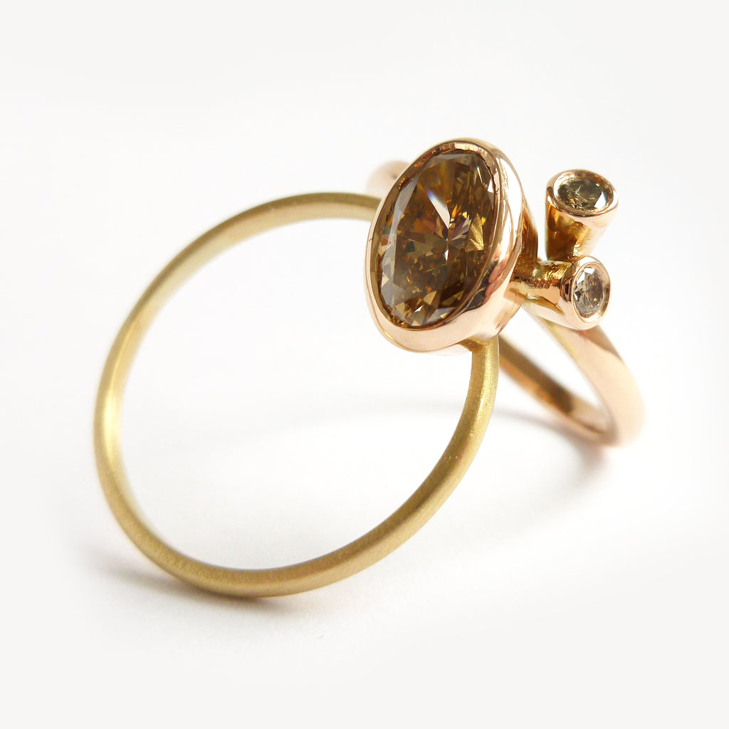 Champagne diamond ring in rose and yellow gold (OF78)