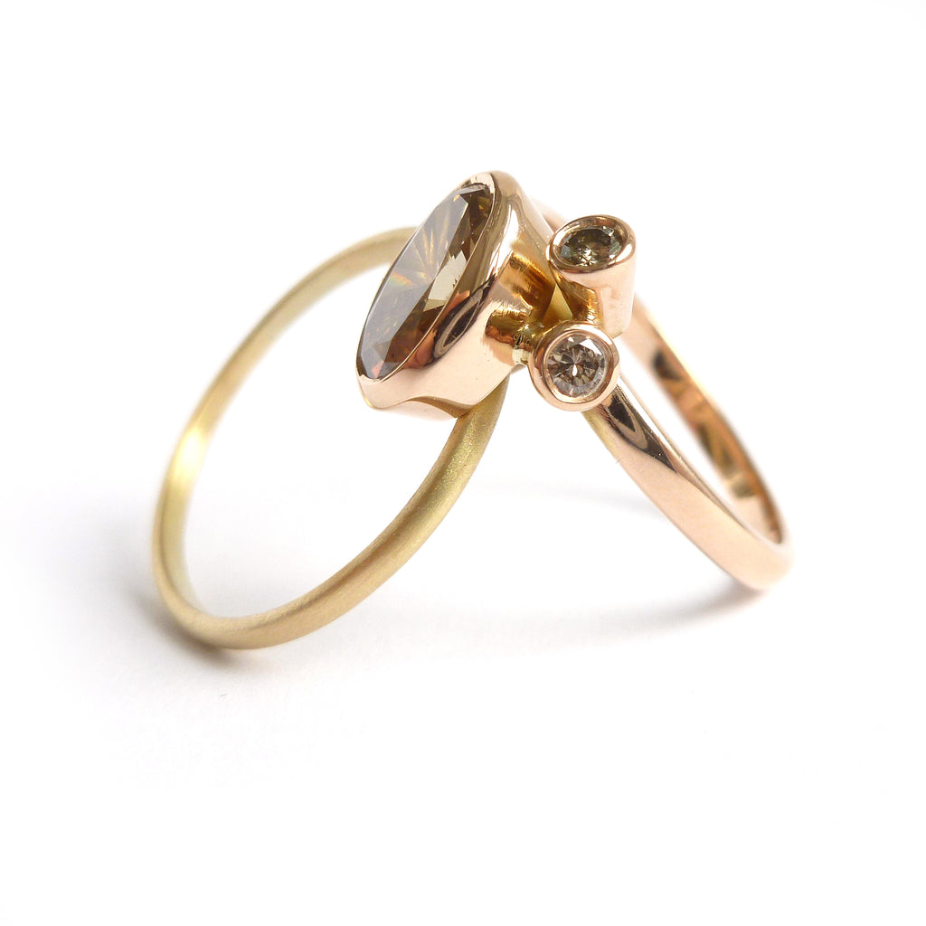 Unique modern rose and yellow gold two band stacking ring with champagne diamond by Sue Lane UK