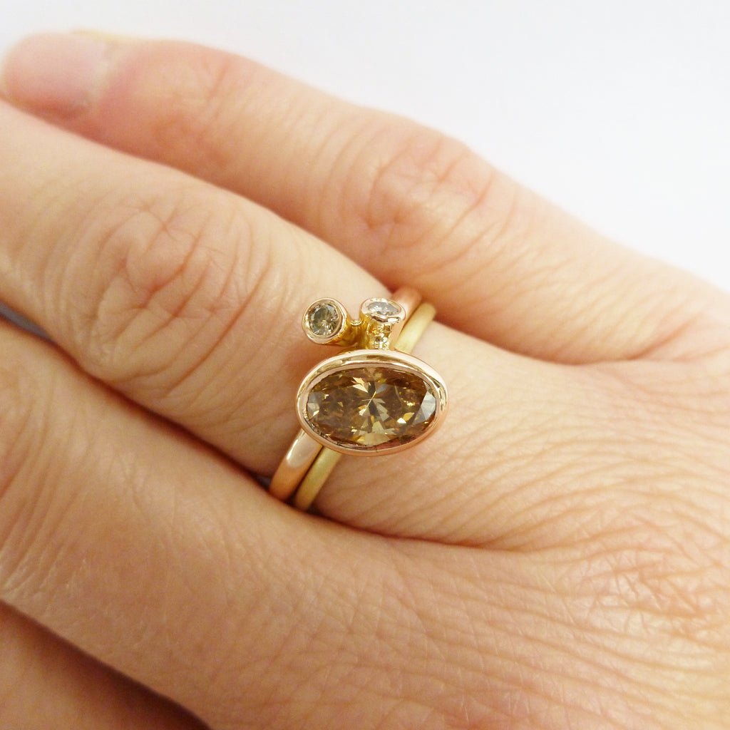 Handmade modern rose and yellow gold two band stacking ring with champagne diamond by Sue Lane UK
