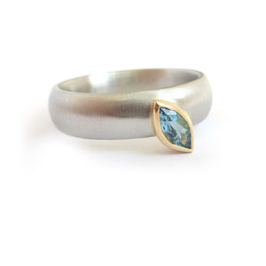 modern two tone platinum and marquise aquamarine wide ring handmade by Sue Lane UK