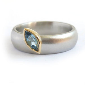 contemporary platinum and marquise aquamarine wide ring engagement or dress ring. Handmade by Sue Lane UK
