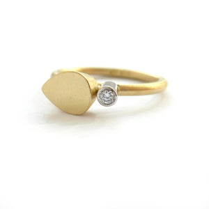 Contemporary gold and platinum and diamond modern delicate diamond ring,  handmade by Sue Lane UK