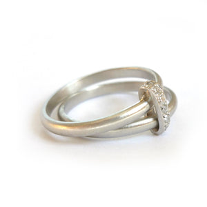 bespoke modern platinum and diamond two band wedding ring handmade by Sue Lane. Multi band ring or interlocking ring, sometimes called double band ring too.