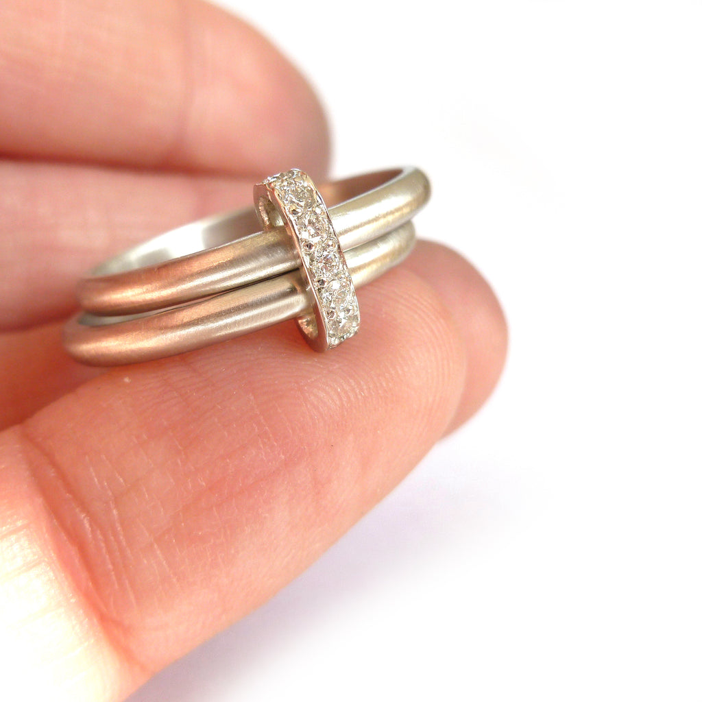 contemporary two band platinum stacking ring with pave set diamonds
