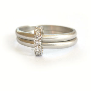 bespoke modern platinum and diamond eternity ring. Multi band ring or interlocking ring, sometimes called double band ring too.
