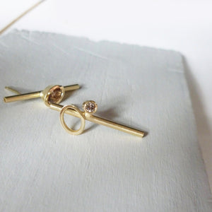 18ct gold and champagne diamond earrings