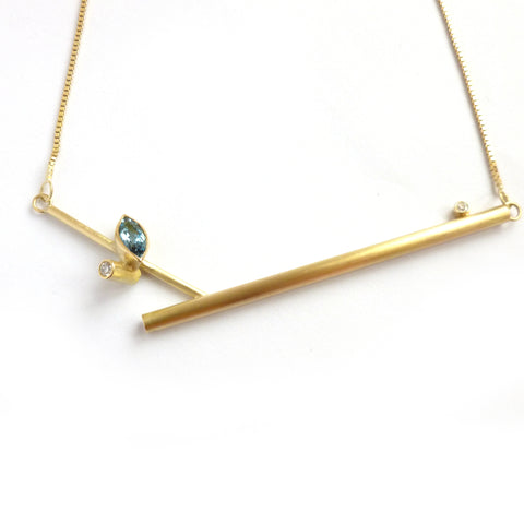 18ct gold, aquamarine and diamond necklace (nkl04)