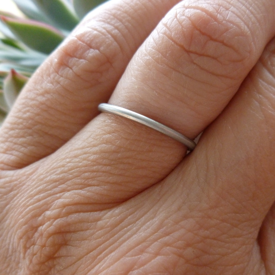 Delicate platinum stacking or wedding ring