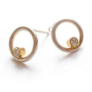 Contemporary, bespoke, unique and modern silver and 18ct white gold circle earrings with 2mm diamonds
