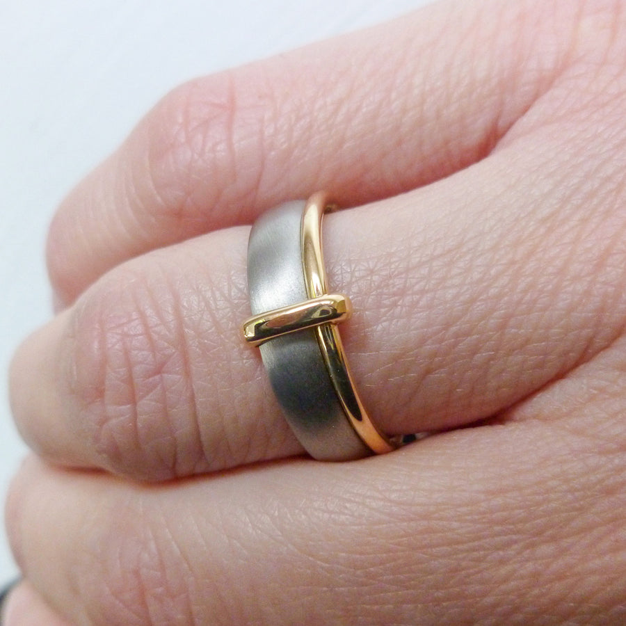 Platinum and 18ct gold two band ring contemporary hand made Sue Lane. Multi band ring or interlocking ring, sometimes called double band ring too.