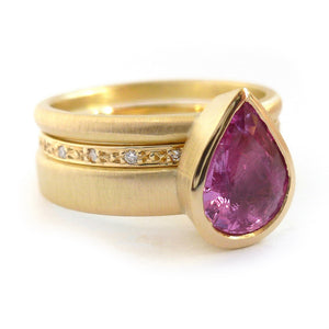 Pink pear shape sapphire and diamond stacking interlocking treble band 18ct yellow gold contemporary ringset ring