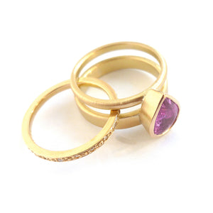 Pink sapphire stacking ringset contemporary bespoke handmade