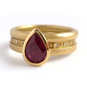 ruby 18ct yellow gold stacking ringset - perfect for a Ruby Anniversary. Unique and contemporary.