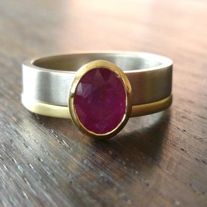 Ruby wedding anniversary ring gold contemporary Sue Lane Herefordshire