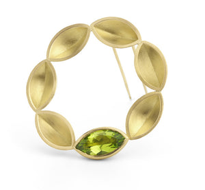 18k Gold and Peridot Brooch (OF24) - Sue Lane Contemporary Jewellery
