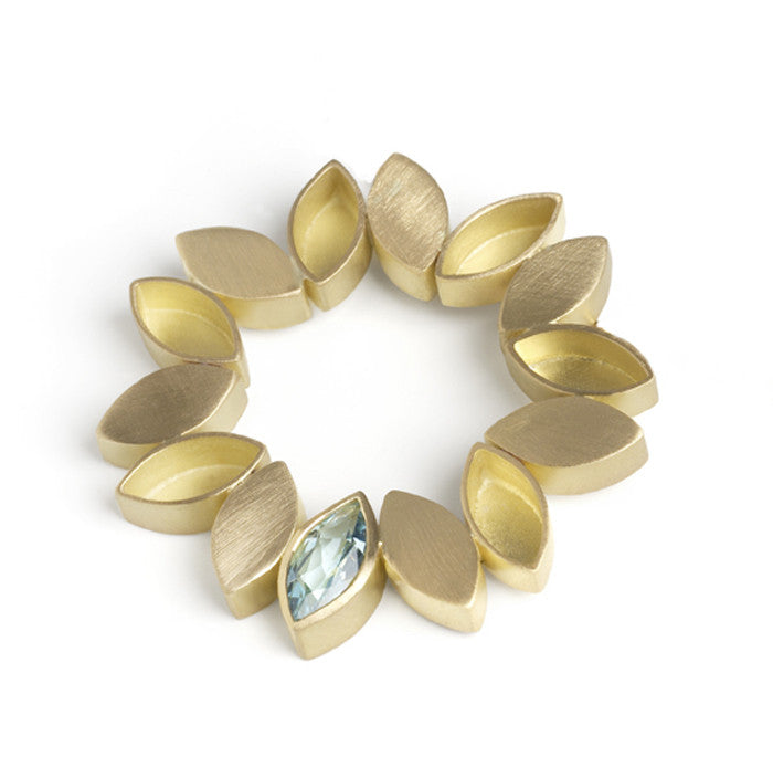 Contemporary and modern 18k gold and marquise aquamarine brooch, one off design, handmade by Sue Lane Jewellery, UK