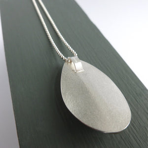 Silver leaf necklace - contemporary, modern and unique.