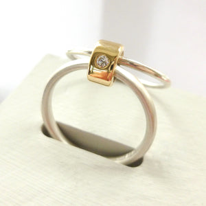 Contemporary engagement ring - gold, silver, diamond, bespoke, modern and unique.