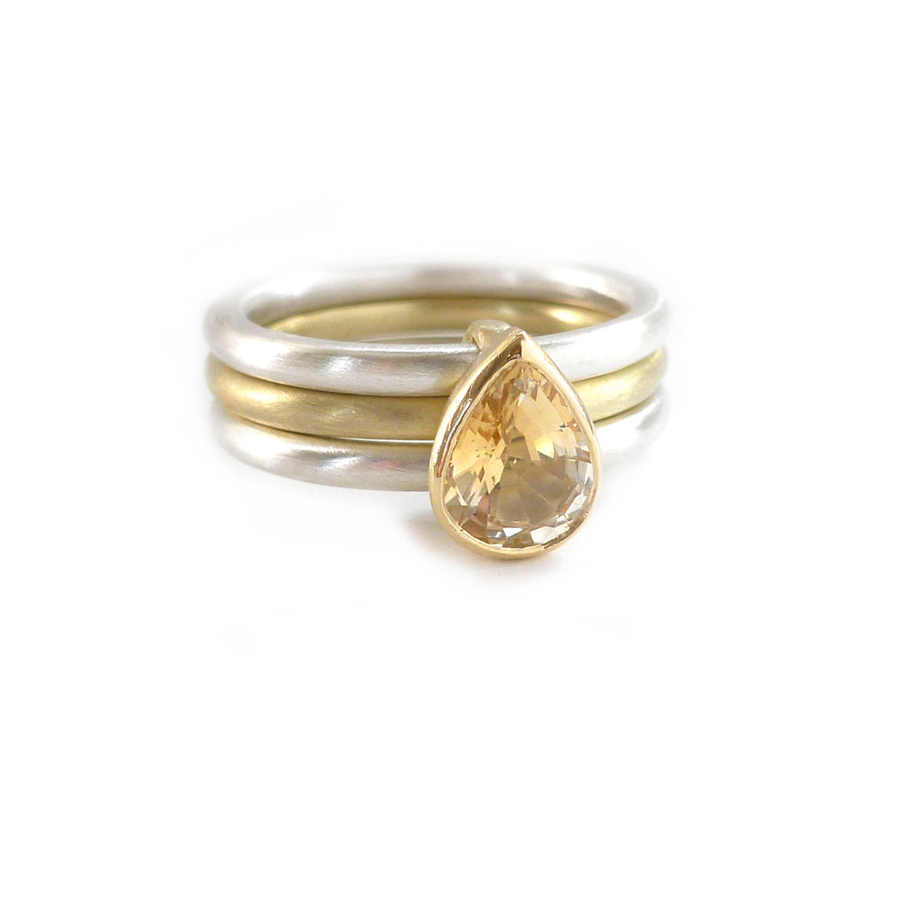 Silver 18k Gold and Sapphire Ring (OF10) - Sue Lane Contemporary Jewellery - 2