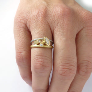 Unique alternative engagement and wedding ring by designer jewellery maker Sue Lane.