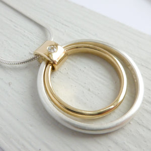 Unique Handmade Circle Silver 18ct Gold and Diamond Necklace