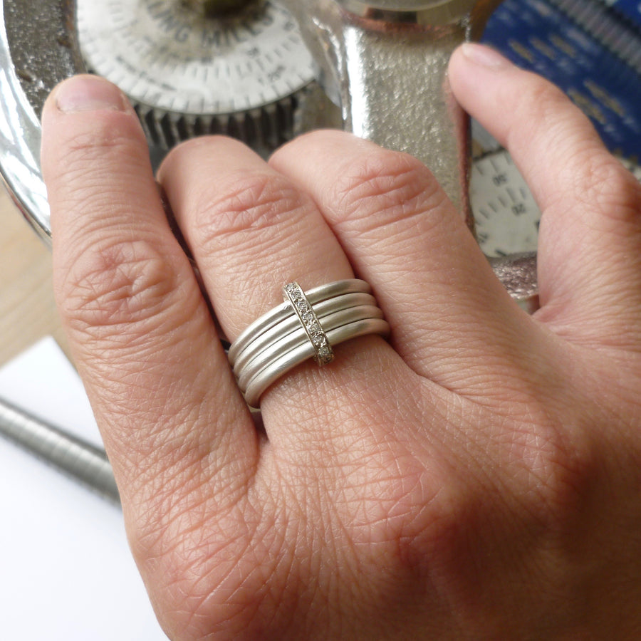 Modern contemporary silver and gold two tone pave set diamond ring handmade by Sue Lane