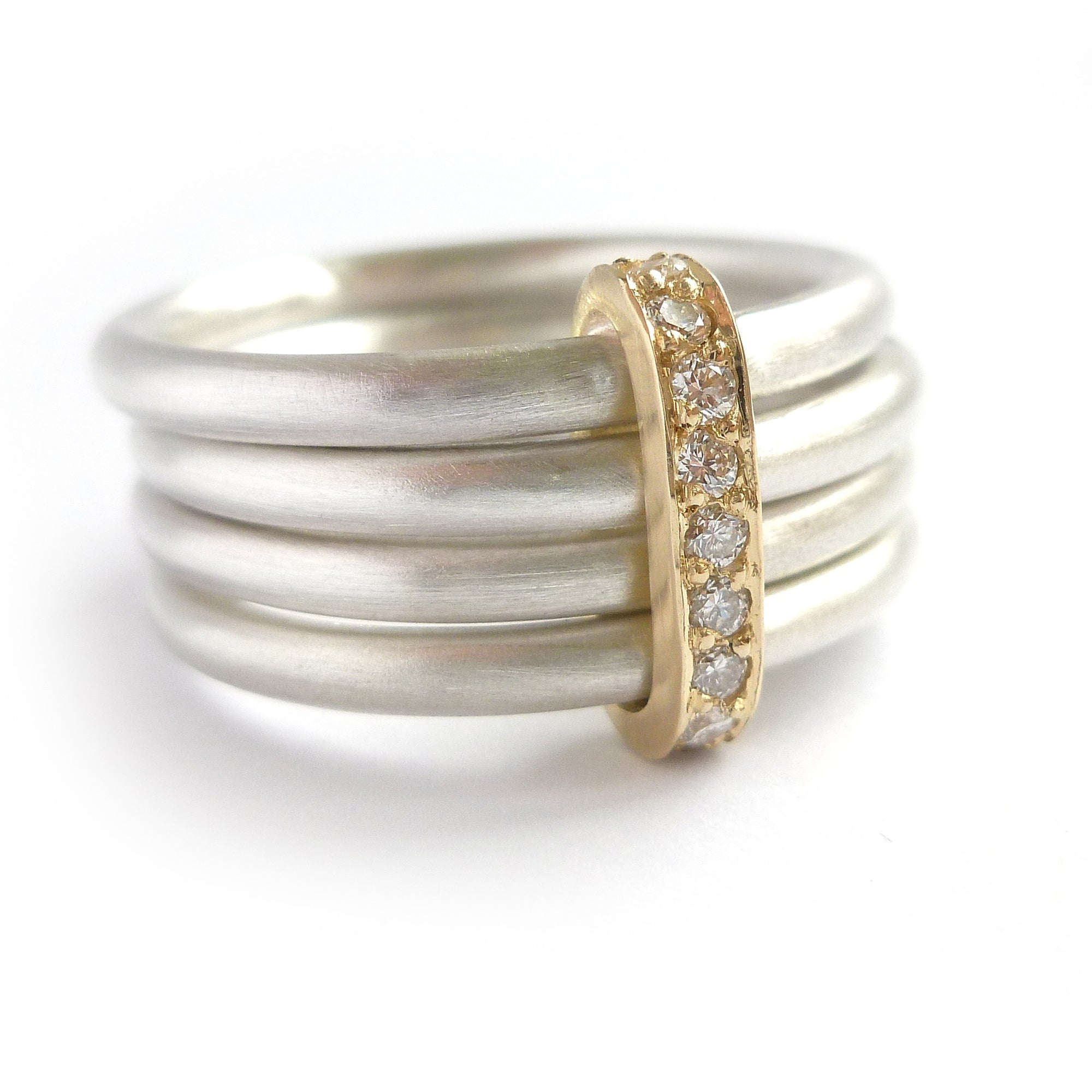 Four 4 band modern contemporary silver and gold two tone pave set diamond ring handmade by Sue Lane