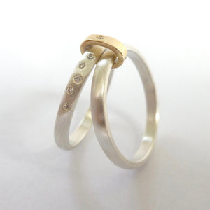 Two band silver and diamond ring (RTB) Size N