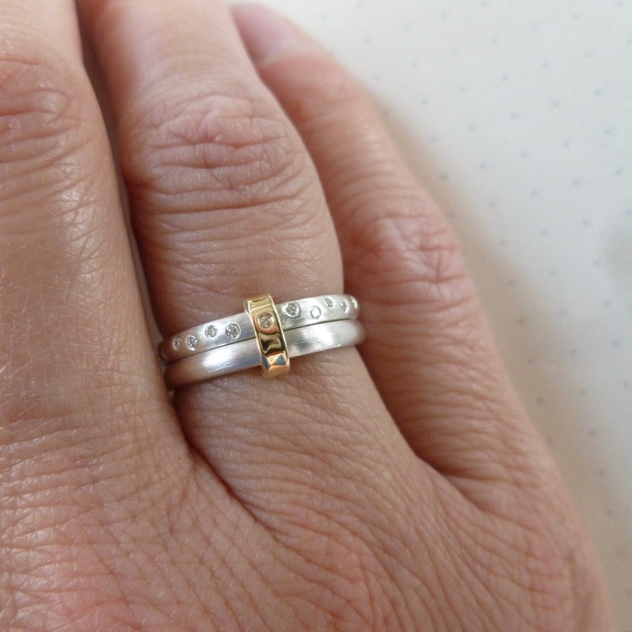 Two band silver and diamond ring