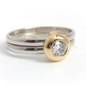 18ct Gold and Diamond Ring  - Contemporary, unique, bespoke & handmade. Multi band ring or interlocking ring, sometimes called double band ring too.