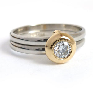 18ct Gold and Diamond Ring  - Contemporary, unique, bespoke & handmade. Double band ring that's interlocking.