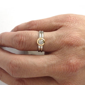 18ct Gold and Diamond Ring  - Contemporary, unique, bespoke & handmade. Double band ring that's interlocking