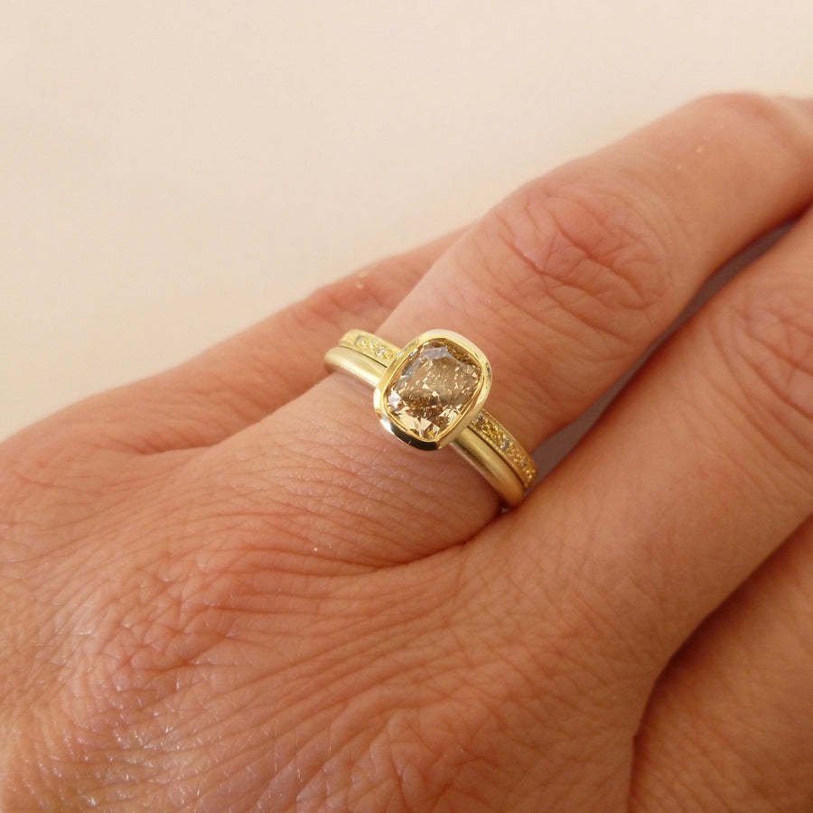 Unique, one off cushion cut champagne diamond stacking ring set, a modern engagement or wedding ring handmade in UK by Sue Lane