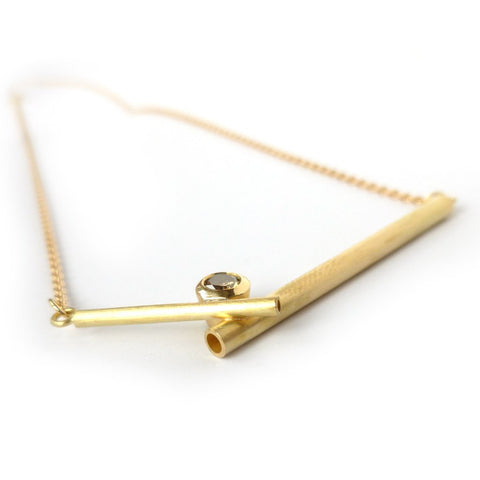 modern cognac diamond and gold  necklace