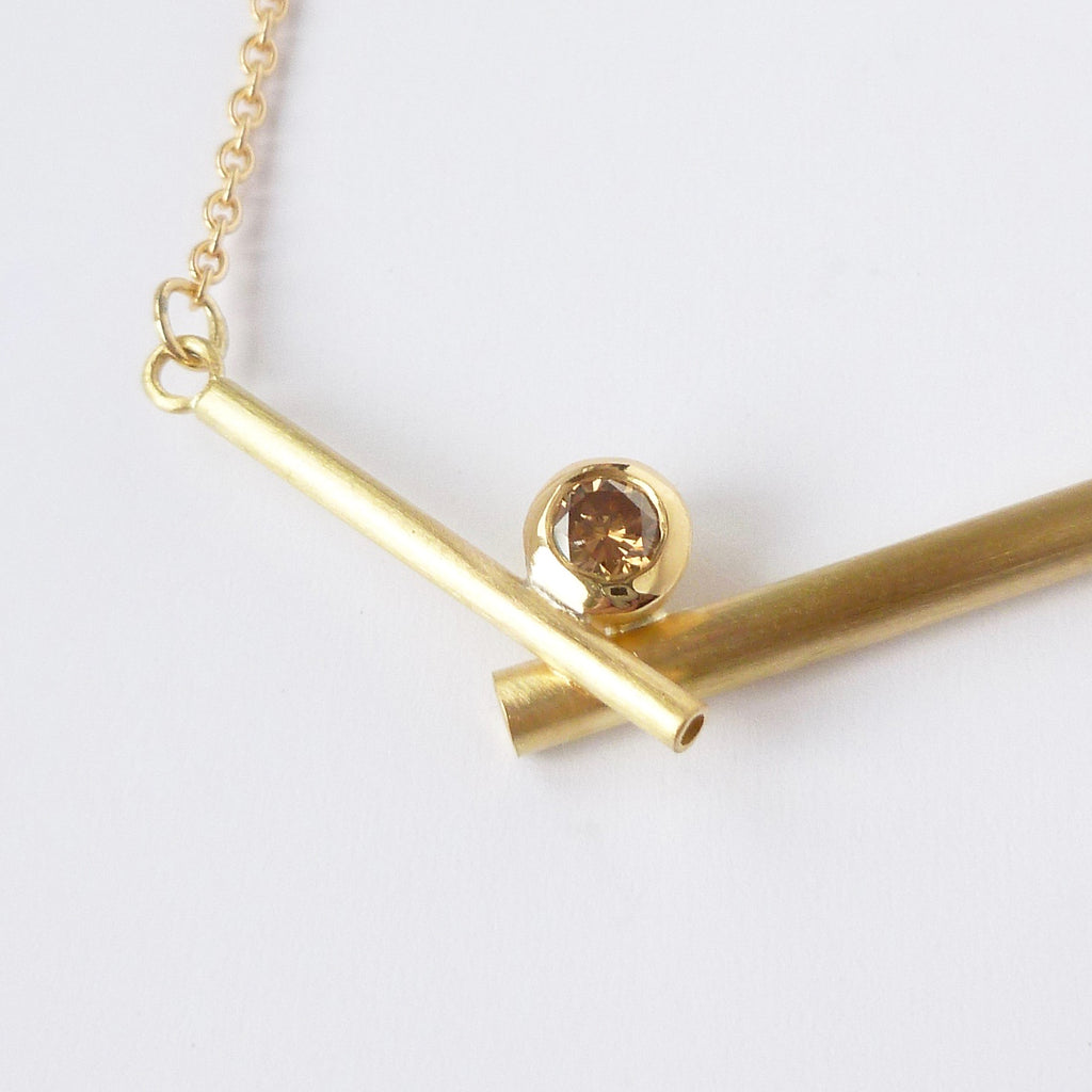 contemporary modern brown diamond and gold necklace