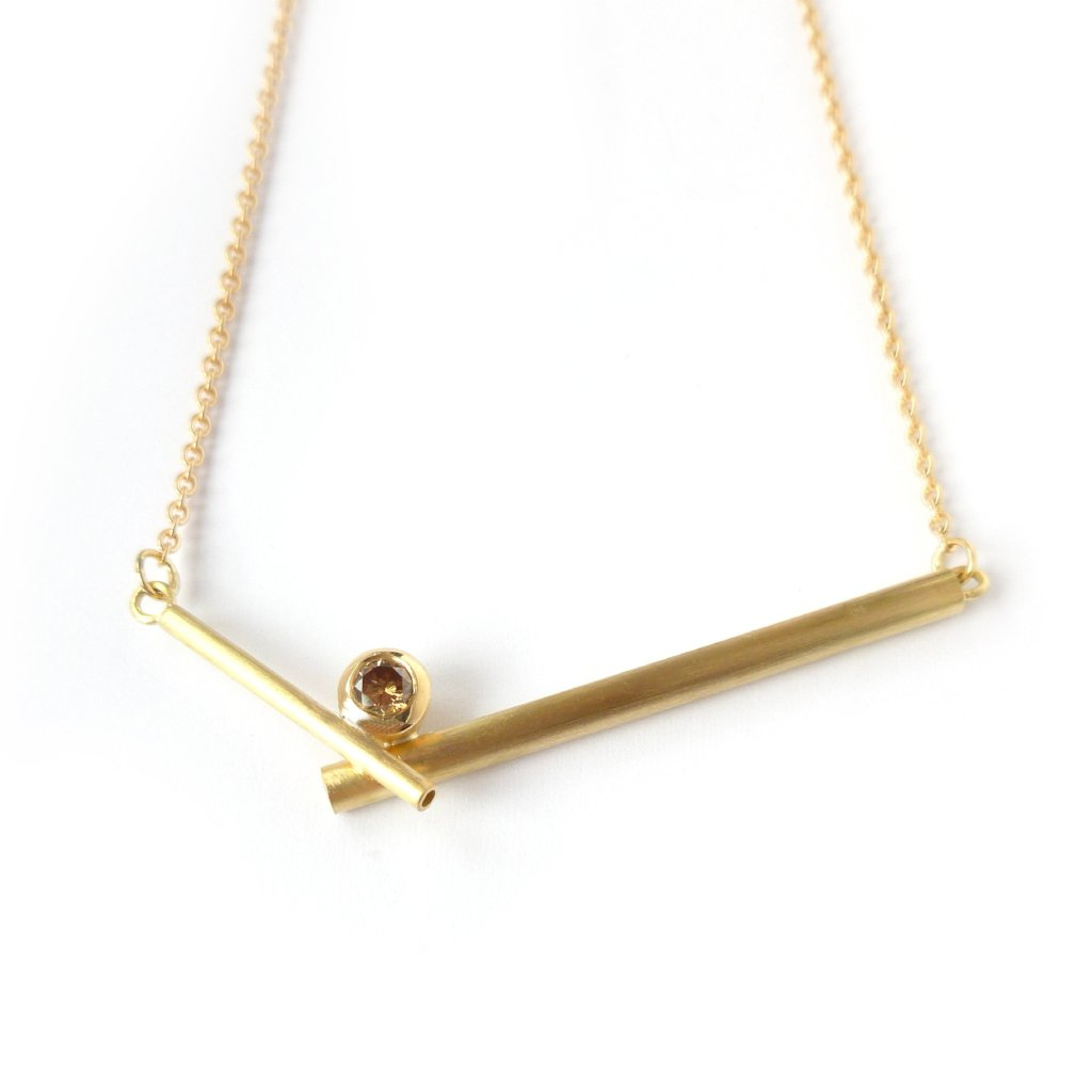 modern brown diamond and gold necklace by Sue Lane Jewellery