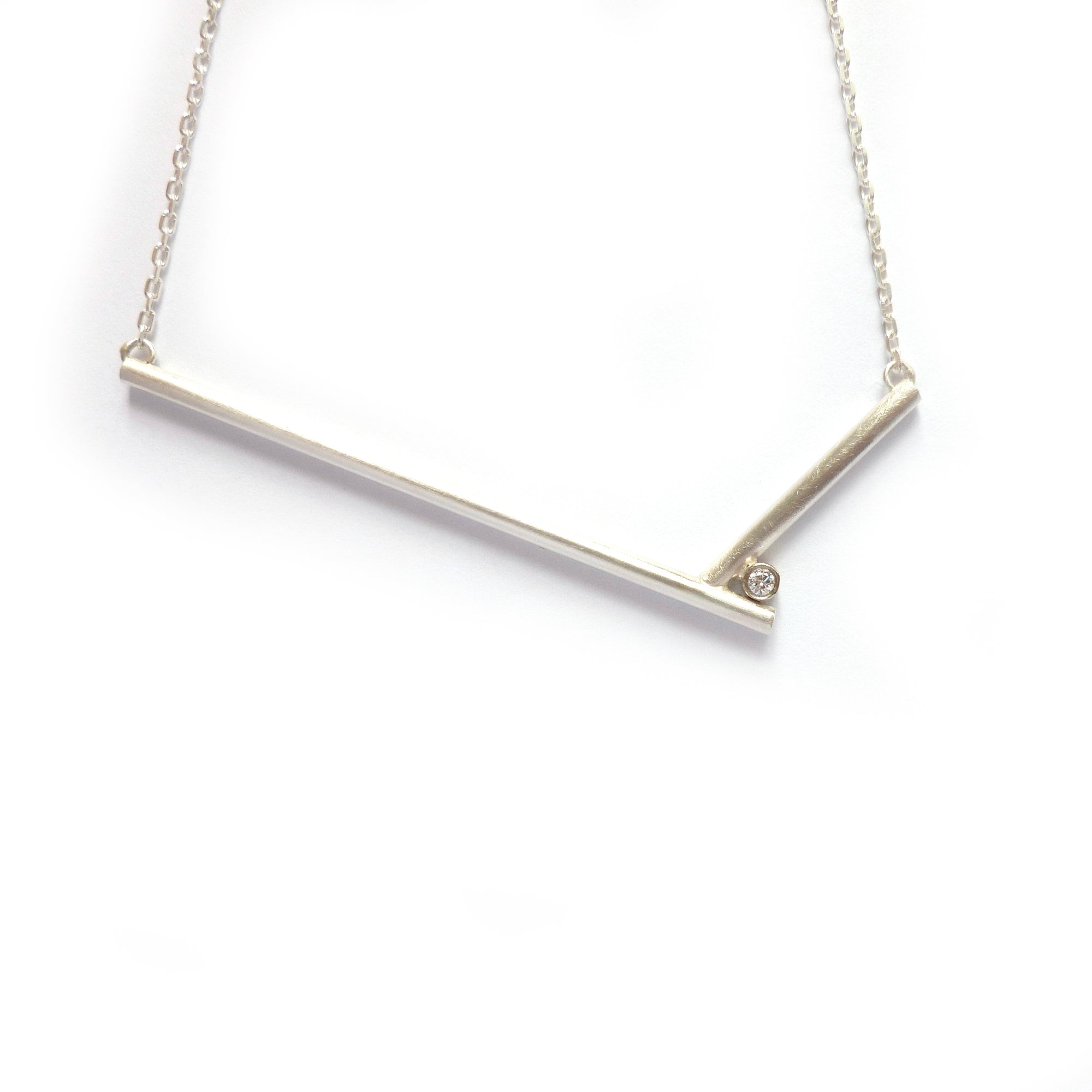 modern contemporary silver and diamond necklace handmade designer and maker by Sue Lane