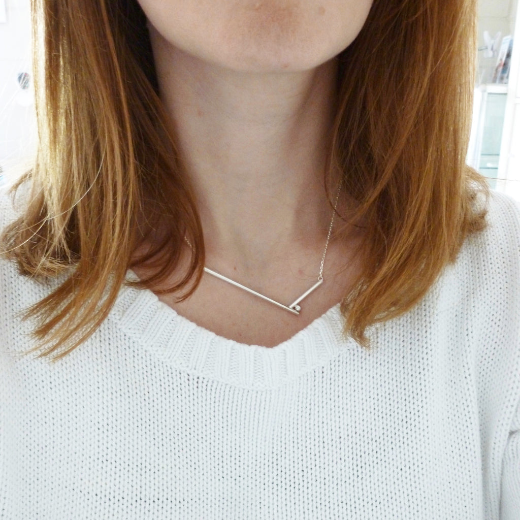 bespoke contemporary silver and diamond necklace by Sue Lane