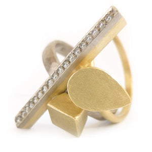 Contemporary unique bespoke handmade 18ct 18k gold diamond Sue Lane