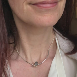 Contemporary jewellery - modern & bespoke silver 18ct white gold and aquamarine contemporary necklace handmade in UK