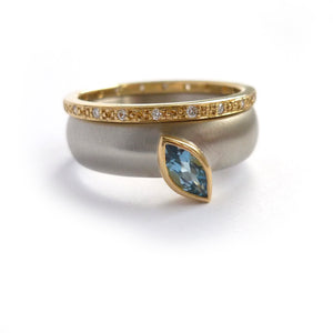 contemporary palladium and marquise aquamarine wide ring engagement or stacking dress ring. Handmade by Sue Lane UK