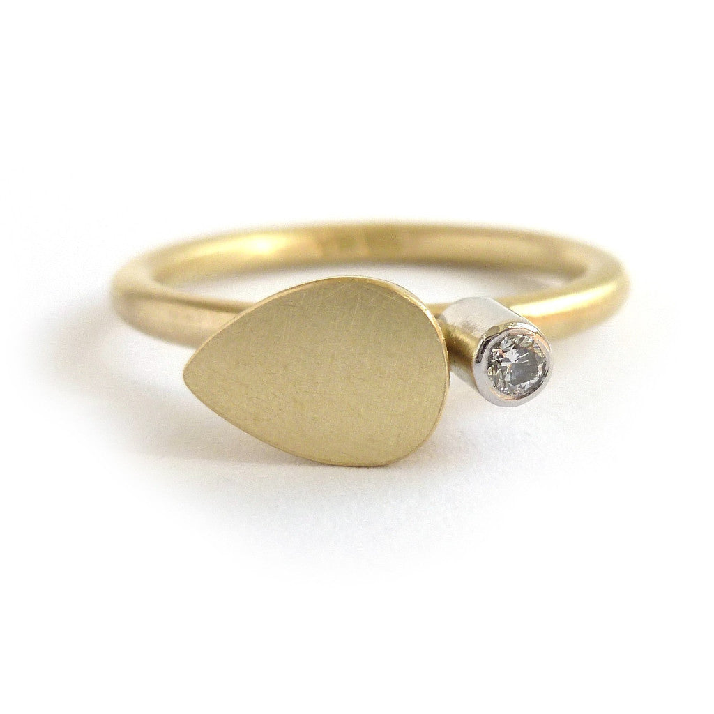 Contemporary gold and diamond modern delicate diamond ring handmade by Sue Lane UK