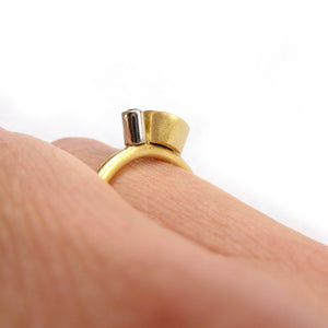 Contemporary gold and platinum and diamond modern delicate diamond ring handmade by Sue Lane UK