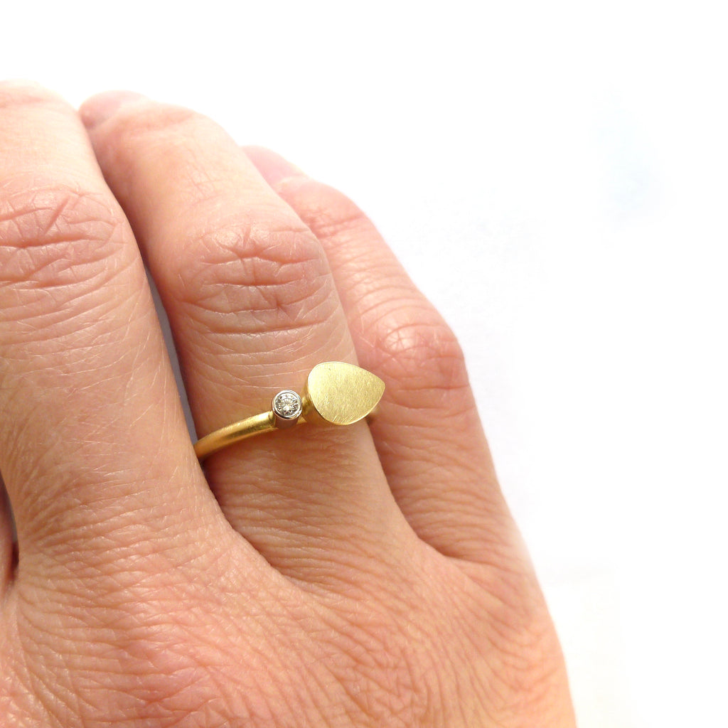 Contemporary gold and platinum and diamond modern delicate diamond ring, alternative engagement ring,  handmade by Sue Lane UK