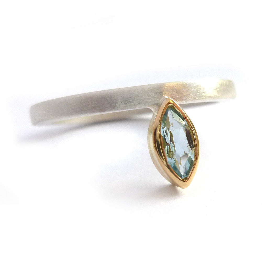Silver and marquise aquamarine ring