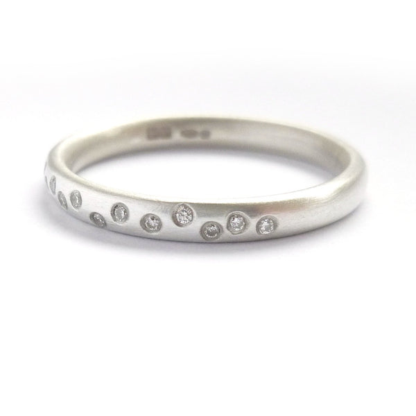 modern silver and diamond eternity ring handmade in the UK