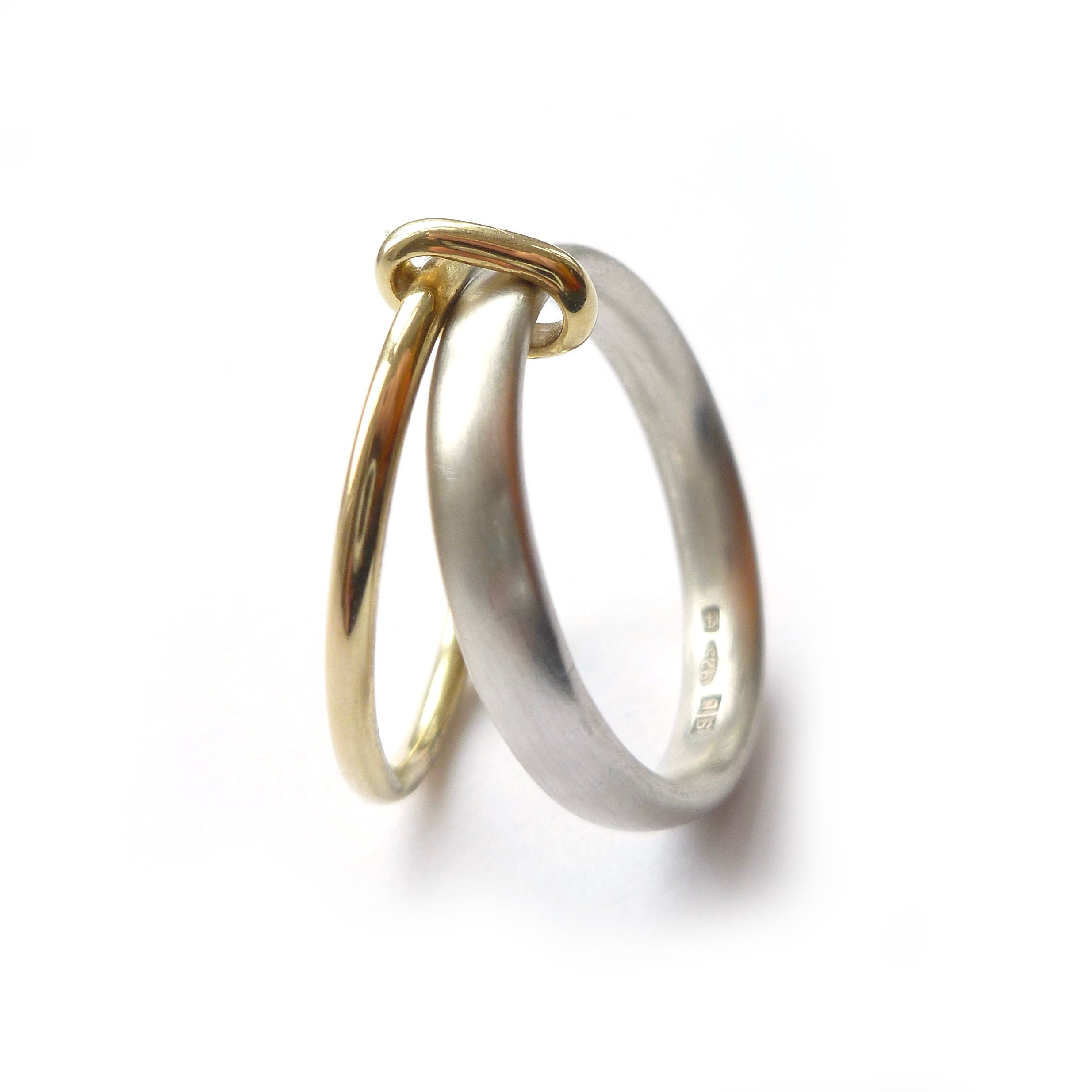 Silver and 18ct Gold Two Band Ring (r15)