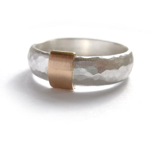 modern and unusual two tone silver and gold chinky ring for men or woman with a hammered finish. Handmade in UK