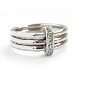 Contemporary platinum wedding engagement ring made to order / commission / bespoke. Multi band ring or interlocking ring, sometimes called triple band rings too.