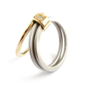 18ct gold and palladium unique three band stacking ring with diamond